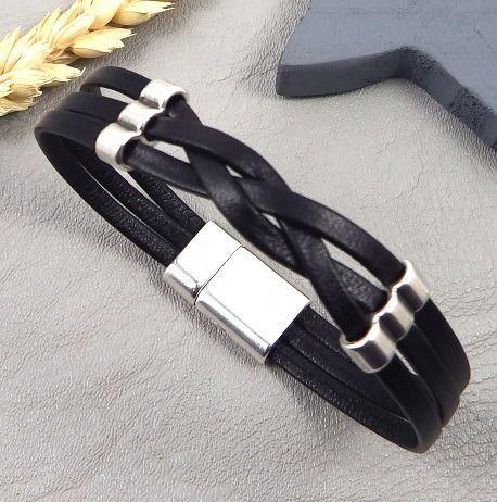 kit tutoriel bracelet cuir double noir tresse perles et fermoir plaque argent : Kits, tutoriels bijoux par bijoux-giuliana