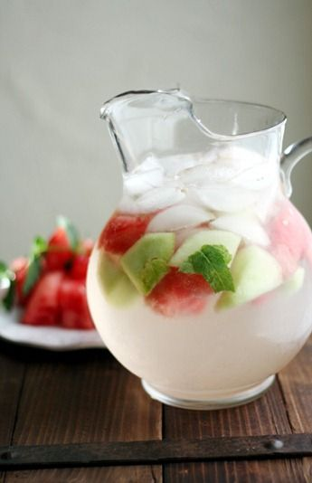{mint melon sangria} made with sparkling wine - yum!