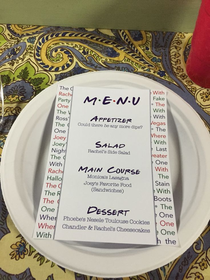 Friends Theme Menu Friends Bridal Friends Bridal Shower