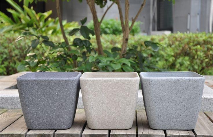 Eden 28cm Grey Sandstone Finish Square Plastic Planter #pot #sandstone #beige #grey