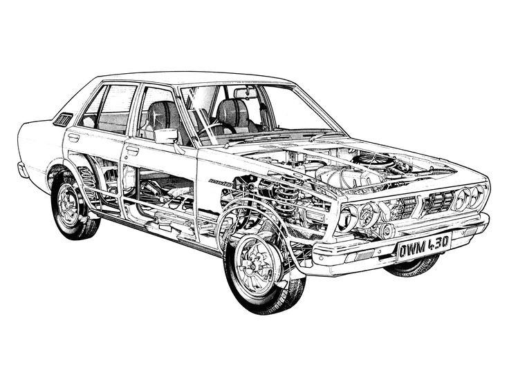 1977-1981 Datsun Violet 160J (A10) - likely illustrated by Terry Davey
