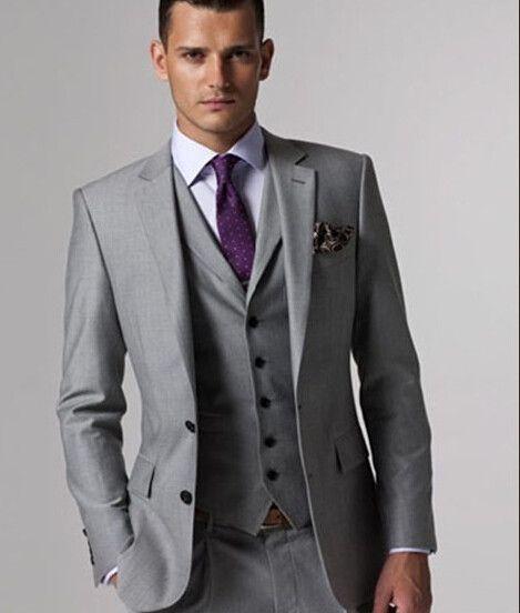 Nueva Llegada Por Encargo Gris Claro Conjunto Traje de Los Hombres Delgados Trajes de Boda Para Hombre gris Tailcoat Smokinges Del Novio (jacket + pantalones + chaleco + tie)