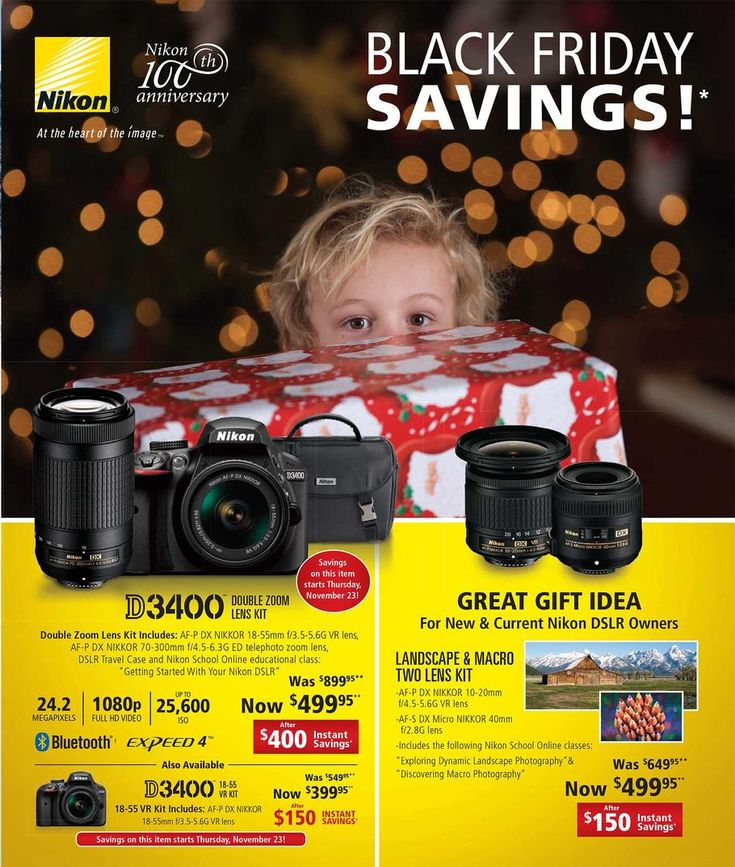Nikon Black Friday 2017 Ad Scan Deals and Sales #coupons  The Nikon 2017 Black Friday ad scan is here! Start shopping on Thanksgiving Day. Open times have yet to be announced. Nikon offers state-of-the-art technology including photography equipment sport optics microscope and imaging systems and more.  Nikon D3400 Double Zoom Lens Kit  $499.95  Buy Now  Nikon D3400 18-55 VR Kit  $399.95  Buy Now  Nikon Landscape & Macro Two Lens Kit  $499.95  Buy Now  The post Nikon Black Friday 2017 Ad Scan…