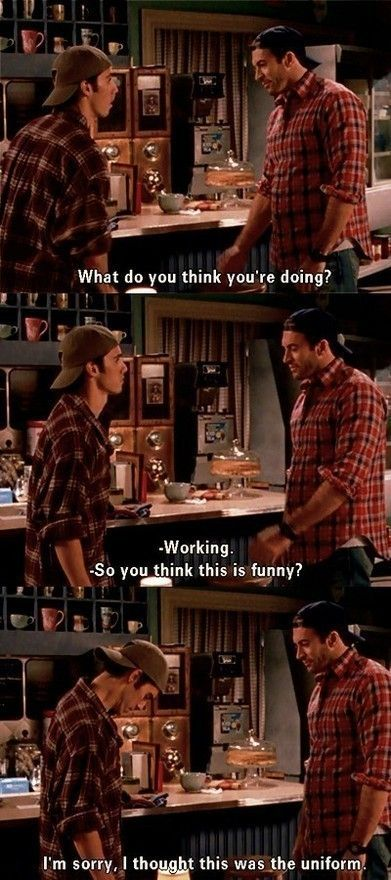 Wow. Made me laugh out loud. best show ever!: Thoughts, Favorite Scene, Jesse From Gilmore Girls, Gilmore Girls Funny Quotes, Gilmore Girls Luke, Gilmoregirls, Luke From Gilmore Girls, So Funny, Watches