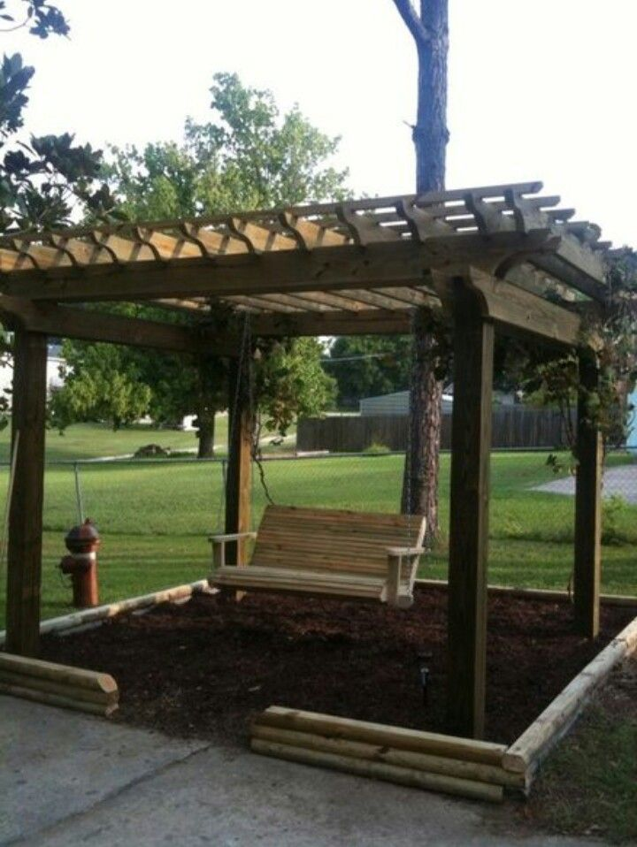 swing pergola gardening ideas pinterest teak couch made into a pergola swing for the yard