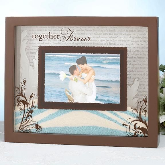 Unity Sand Wedding Ceremony Picture Frame..alternative to the unity sand vase during the wedding ceremony..bride and groom fill it with sand. The lid slides outward so you can fill it with sand and replace the photo.
