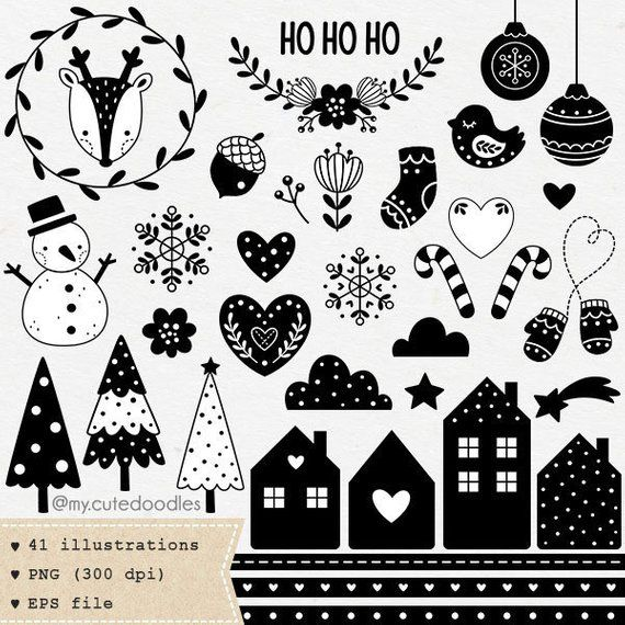 Scandinavian Christmas Clipart Minimalist Style Xmas Etsy In 2020 Scandinavian Christmas Christmas Clipart Clip Art