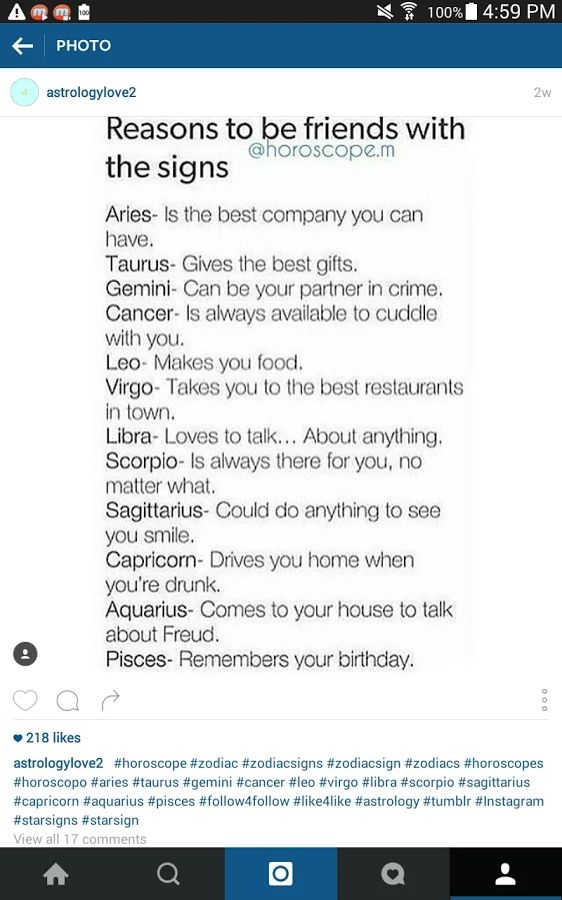 """Photo: """"Reasons to be friends with the signs"""" source: (technically) horoscope.m  ⭐Stargazer⭐"""