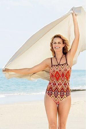 Kos Brown and Orange Mastectomy Swimsuit