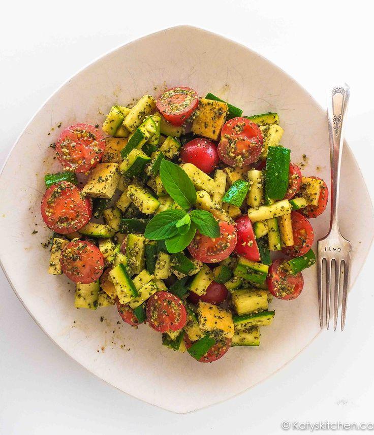 Mint Week: Zucchini Penne Pesto Plate