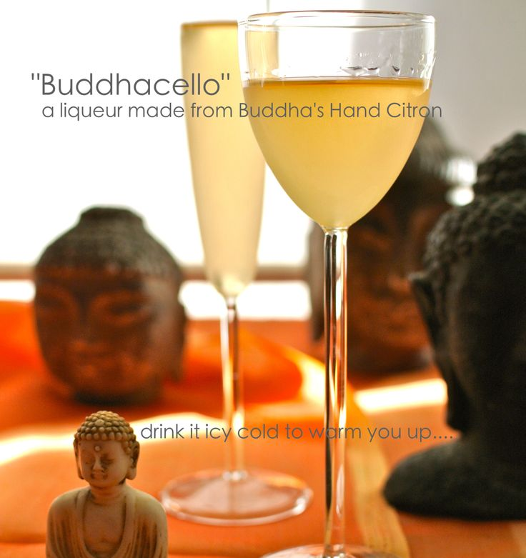 """""""Buddhacello"""": liqueur made from Buddha's Hand Citron; & Candied Buddha's Hand and Buddha's Hand simple syrup."""