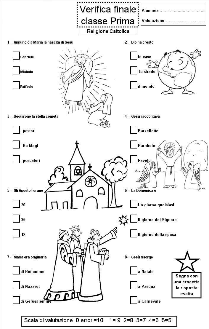 Verifica Di Religione Cattolica Per La Scuola Primaria Prima