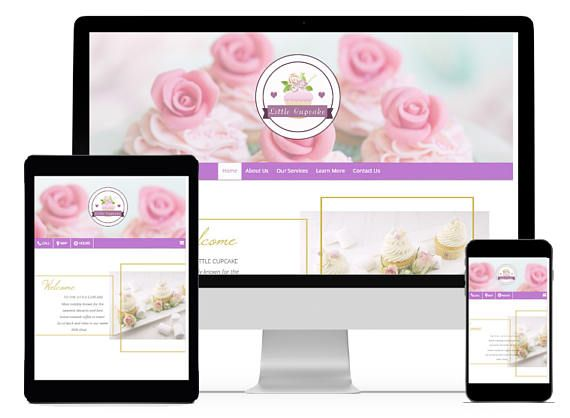Cupcake website, Bakery website, coffee shop website, chic website template for sale!