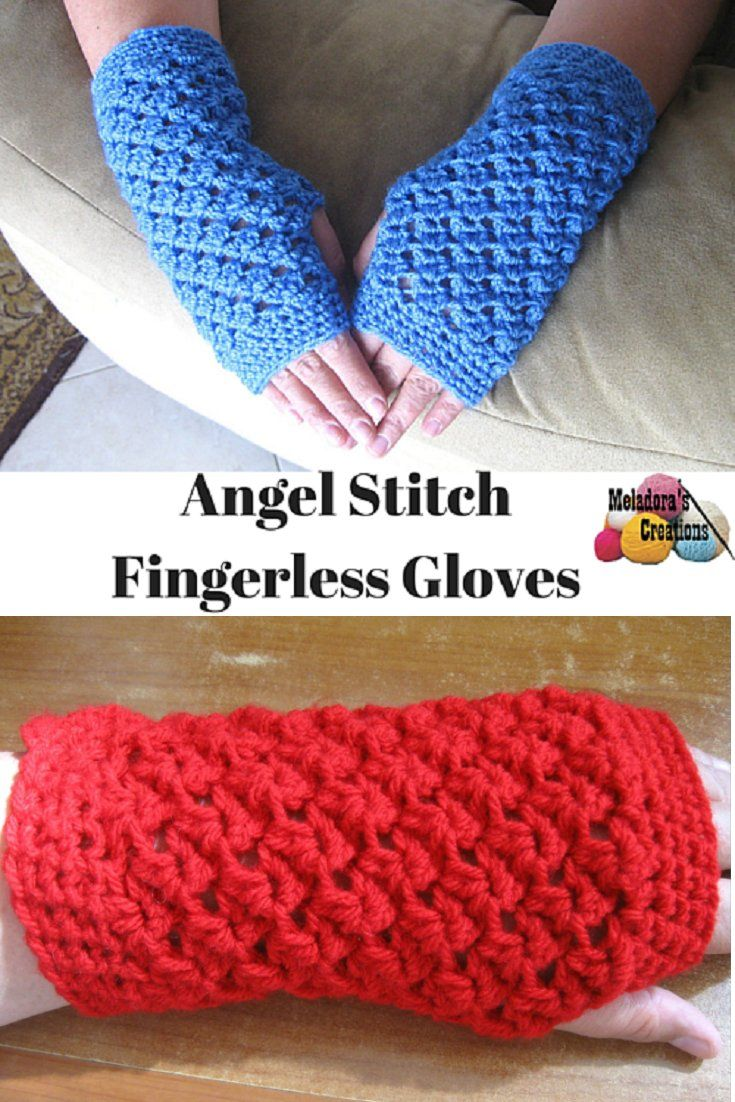 Fingerless gloves darn yarn - H Hook Worsted Weight Yarn Not Easy Your Place To Learn How To Crochet The Angel Stitch Finger Less Gloves For Free By Meladora S Creations Free