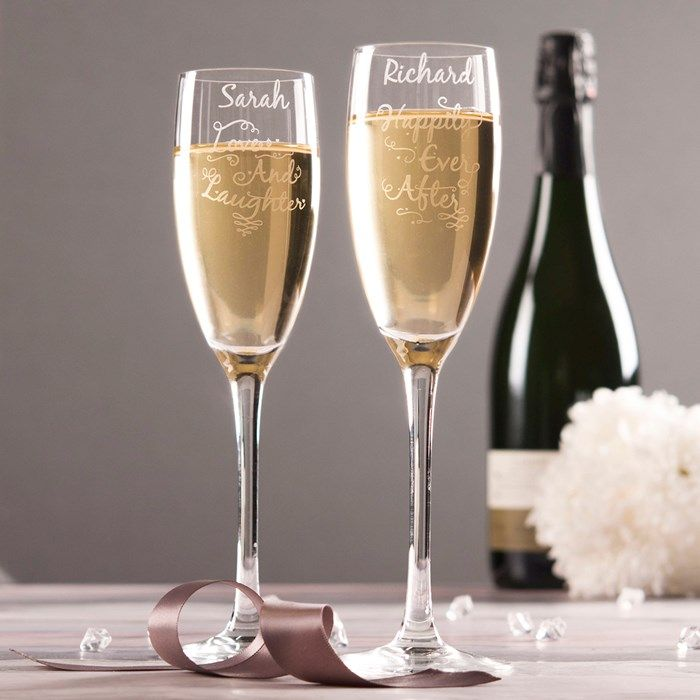 Personalised Set Of 2 Champagne Flutes - Love And Laughter   GettingPersonal.co.uk