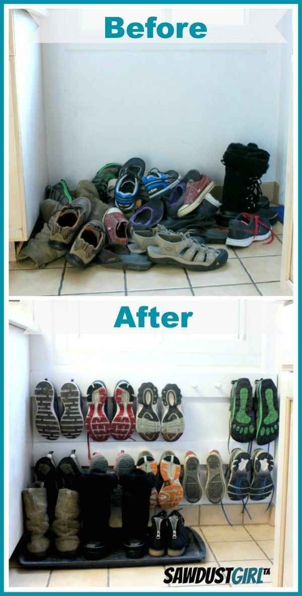 A coat rack hung low on the wall makes a space-saving shoe rack. Maybe in Char's closet @ the bottom?? Could get rid of those clear drawers I hate so much! Lol #homeorganization