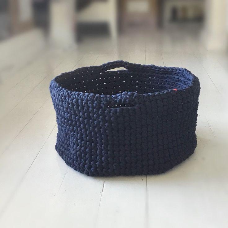 XL Navy Crochet storage Basket