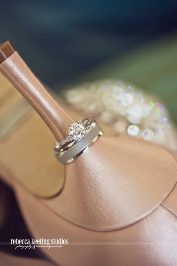 cute idea for the pictures. Put the ring on your wedding heals :)