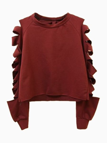 Wine Red Crop Sweatshirt with Cut Out Shoulder