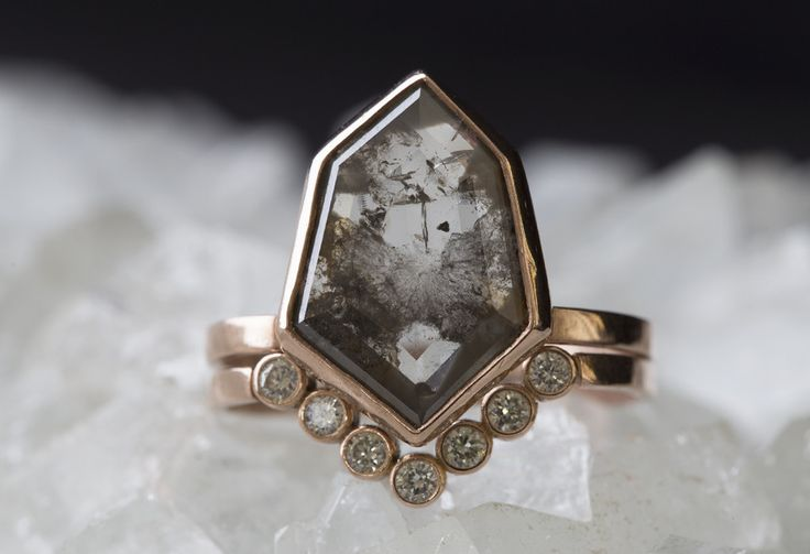 one of a kind, beautifully hand-crafted, geometric diamond ring with stunning matrix and sparkle. this natural grey rose cut, hexagon diamond is bezel-set in r