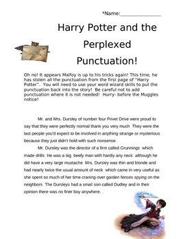 Harry Potter themed punctuation activity: the punctuation is missing from a Harry Potter themed paragraph, students must add back all of the correct punctuation. Credit: Tina's Teaching Treasures