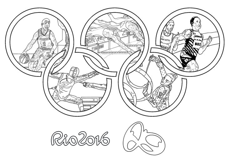 Free coloring page coloring-adult-rio-2016-olympic-games. Rio 2016 Summer Olympic Games (5-21 Aug) : Five sports. By Sofian