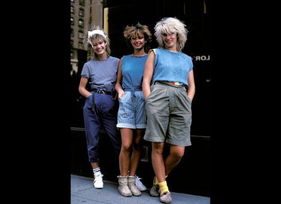 1982: DENIM GOES POP. Siobhan Fahey, Keren Woodward and Sara Dallin of Bananarama in 1982 #IconicDenim