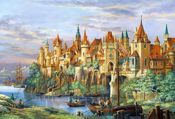 Castorland Puzzle 3000 City Rothenburg Germany Medieval Village Ships Fishing  #Castorland
