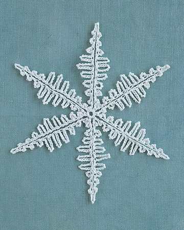 Crocheted Snowflakes - These best patterns I have seen yet! Then it shows you how to make a garland out of them. Martha Stewart