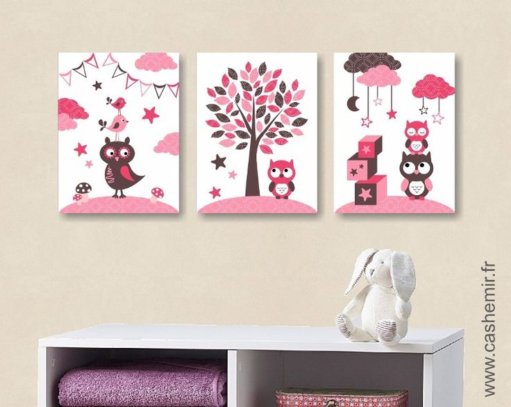 lot de 3 illustrations pour chambre de b b fille et d 39 enfant chocolat rose r roses b b. Black Bedroom Furniture Sets. Home Design Ideas