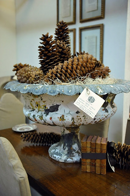 love the urn with forest finds...would fill with pine uder the pine cones for winter