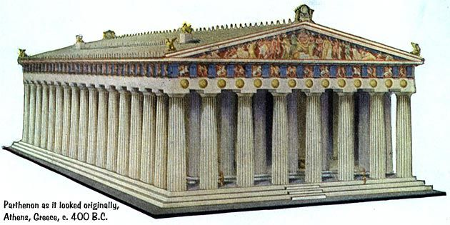 How the Parthenon in Athens, Greece originally looked in 432 B.C. (it began construction in 448 B.C.)