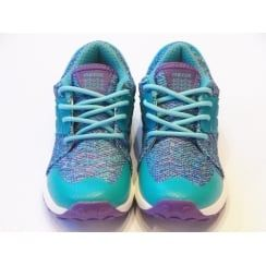 Girls Lace Up Trainers - Geox Asteroid Girl Blue Knit Effect Trainers