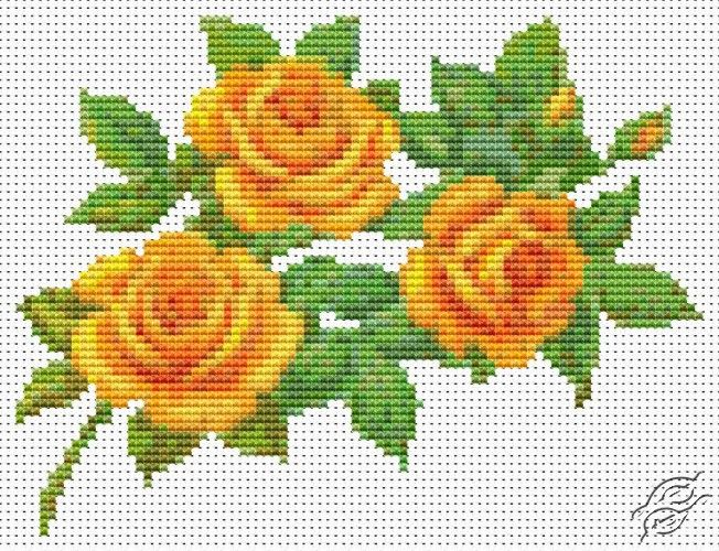 A Trio of Yellow Roses - Cross Stitch PDF Pattern By The Art Of Stitch