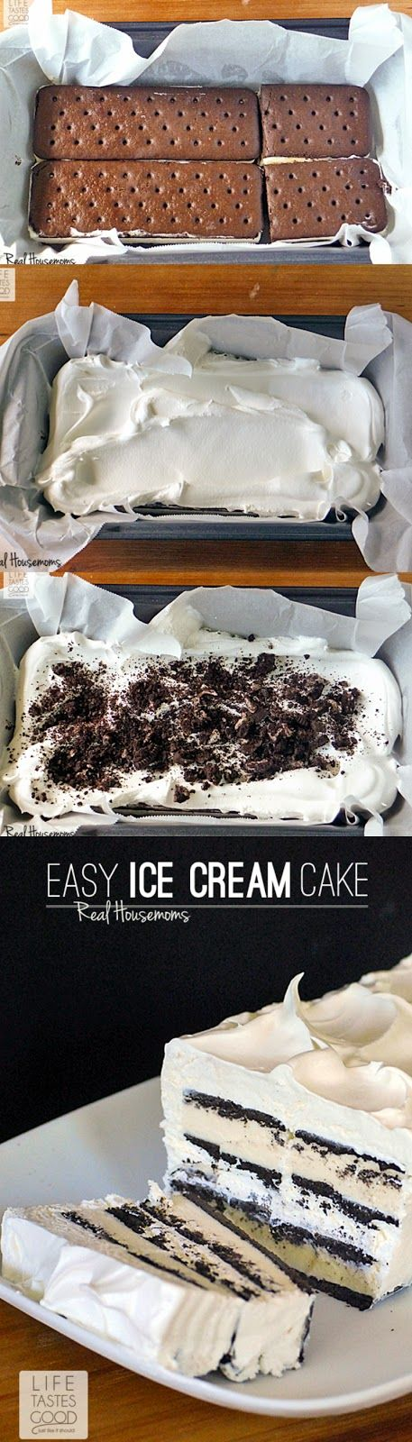 Easy Ice Cream Sandwich Cake | by Life Tastes Good is a chocolate and whipped cream dessert that only takes about 10 minutes to assemble! It is the easiest cake you'll ever make!