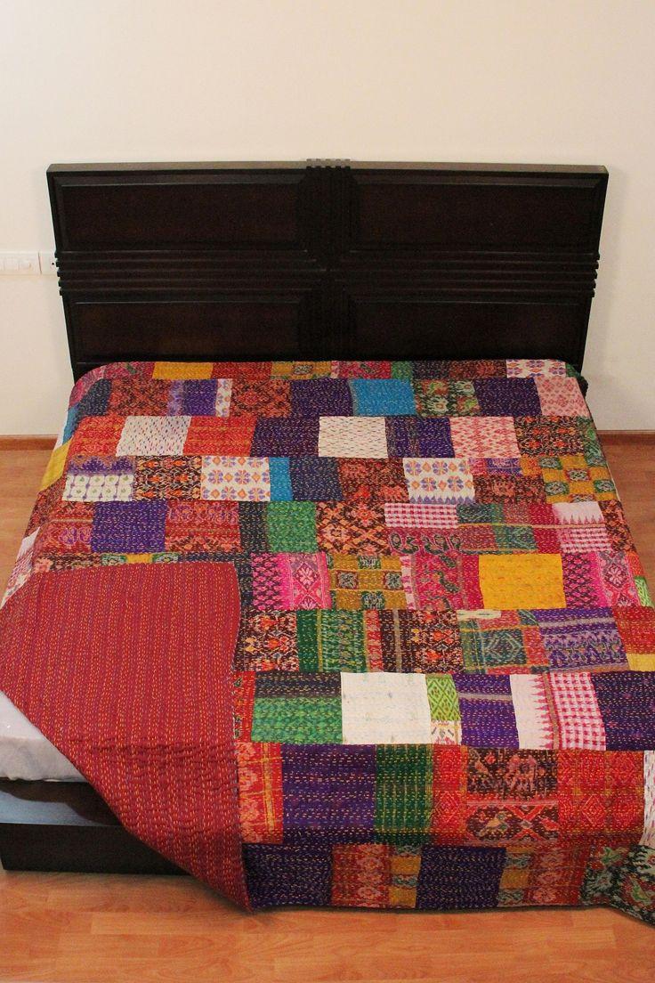 Patchwork bed sheets patterns - Handmade Silk Patola Kantha Bed Sheet Indian Vintage Quilt Patchwork Bed Cover