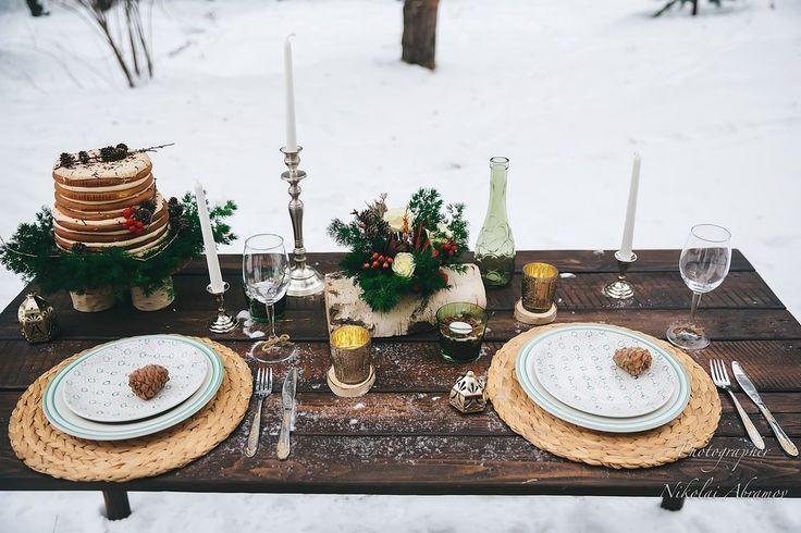 Лесная прогулка. Декор стола.  Свадьба в стиле лесной сказки. Фото: Николай Абрамов