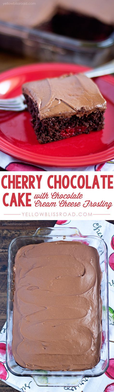 Sweet cherry pie filling combined with luscious dark chocolate cake mix, all topped with a decadent Chocolate Cream Cheese Frosting. easily siami, replace just one egg