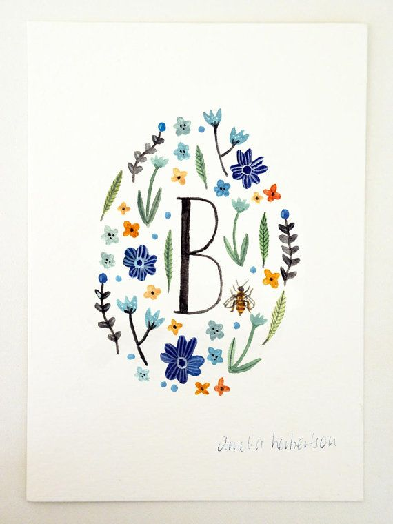 Monogram Letter B floral art print by AmeliaHerbertson on Etsy, $15.00