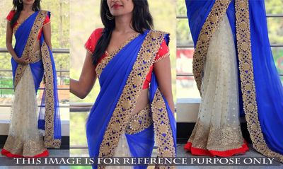 NEW LATEST BLUE COLOR 60GM GEORGET NYLONE NET EMBROIDERY WORK SAREE Bollywood Sarees Online on Shimply.com