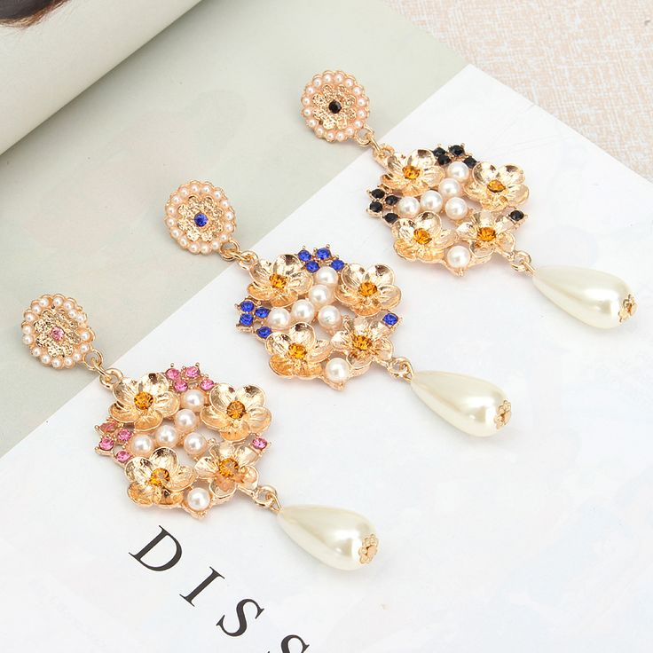 Vintage Exaggerated Sexy Pearl Ear Drop Rhinestone Earrings