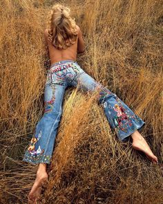 pants ╰☆╮Boho chic bohemian boho style hippy hippie chic bohème vibe gypsy fashion indie folk the 70s . ╰☆╮ The Sam Haskins Estate - Photo Sam Haskins (via Denim Levis in the 70's and Mudwerks)