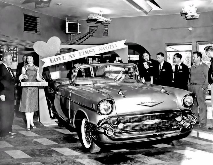 Chevy dealership with a '57 Chevy Bel Air