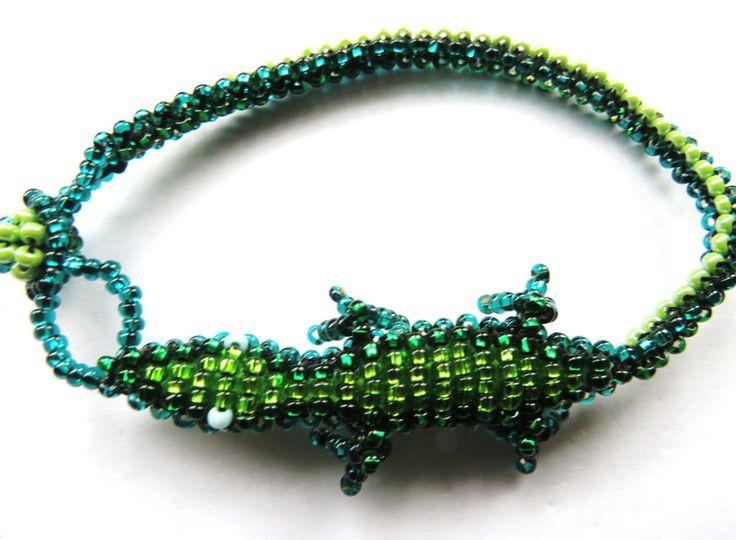 Armbänder - Glasperlen Ethno Armband *GECKO* grün Maya Hippie  - ein Designerstück von santa-fee bei DaWanda
