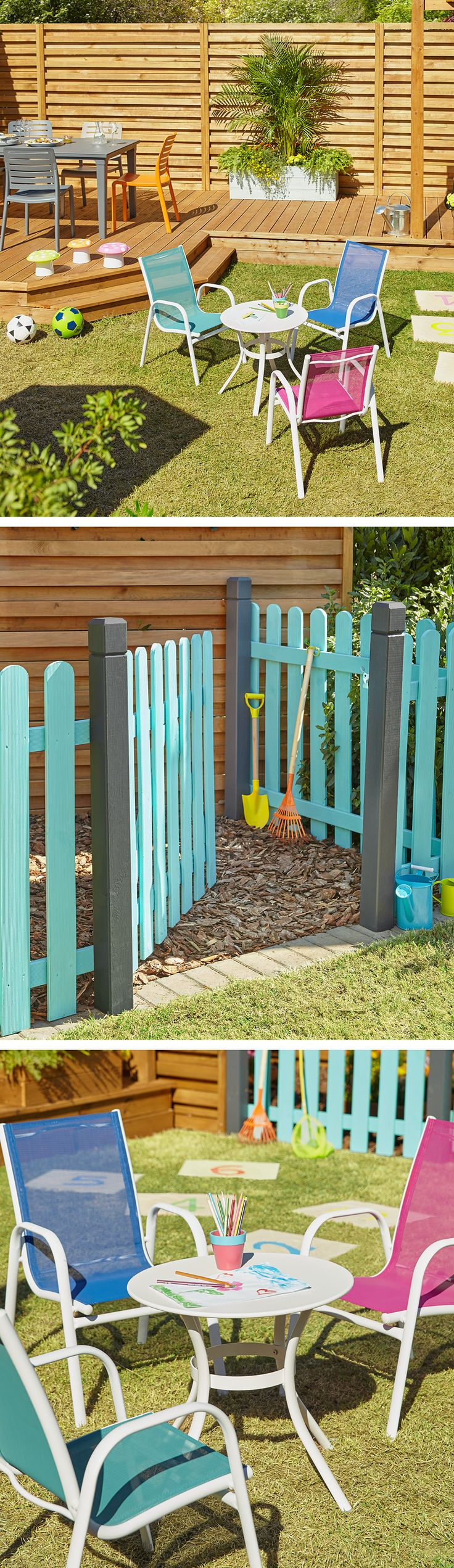 Paint fences bright colours to section off a children's area in your garden. Add some bright coloured chairs and small-sized furniture to give them their own dedicated space.