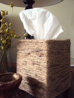 DIY Twine Tissue Box, totally cute and looks really easy!