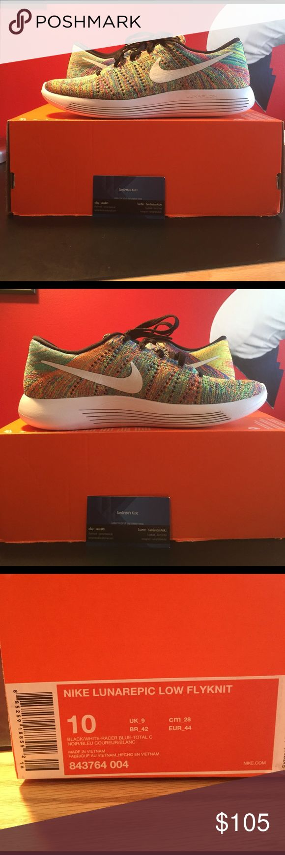 Nike LunarEpic Low Multicolor Flyknit - Size 10 Nike LunarEpic Low Multicolor Flyknit - size: US men's 10 - brand new, deadstock - comes with box without top Nike Shoes Sneakers