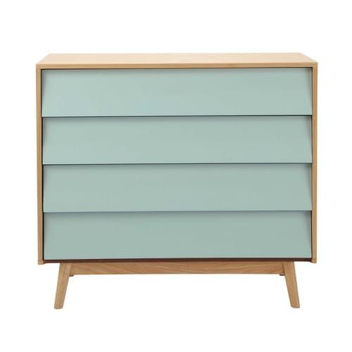 Wooden vintage chest of drawers in blue W 90cm
