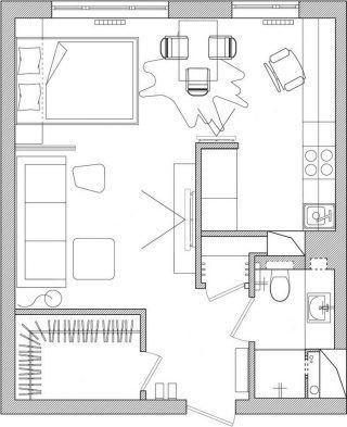 Alaprajz - Jól elkülönülő zónák, vendégágy, természetes fa elemek - 39m2-es praktikus, modern kis lakás