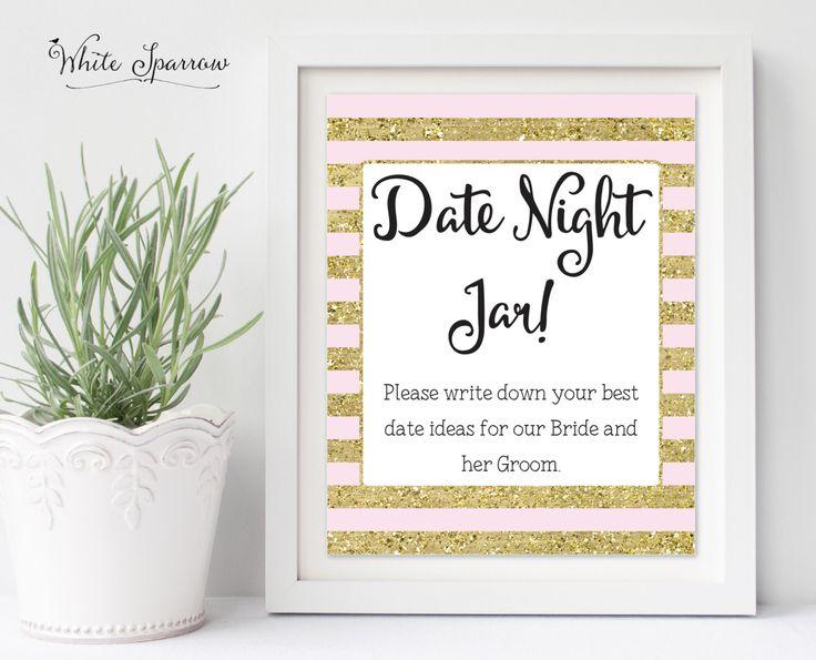 Date Night Jar Sign, Gold Bridal Shower Sign. Bridal Shower Decorations. Gold Bridal Shower. Date Night Jar Ideas, Date Ideas Sign by WhiteSparrowPrints on Etsy https://www.etsy.com/listing/274048758/date-night-jar-sign-gold-bridal-shower
